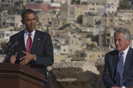Barack Obama and Chuck Hagel